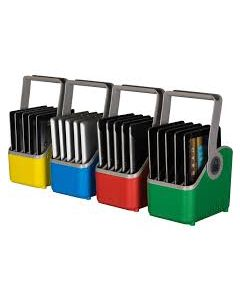"LARGE Plastic Device Basket for up to 13"""" devices (Set of 4) - Yellow Green Blue Red"