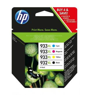 HP 932XL originele zwarte/933XL cyaan/magenta/gele inktcartridges, 4-pack